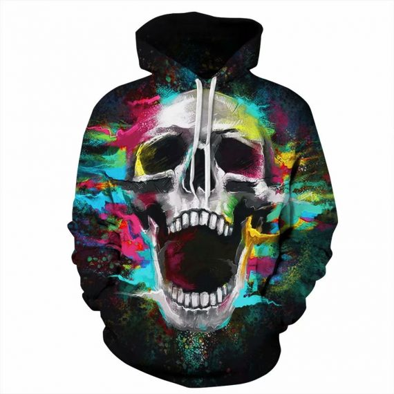 Printed Hoodies Skull Laughing