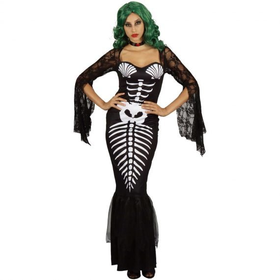 Female Scary Skeleton Mermaid Halloween Holiday Outfit