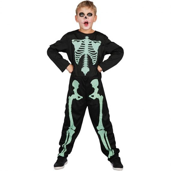 Boy's Scary Glow in the Dark Skeleton Jumpsuit Halloween Costume