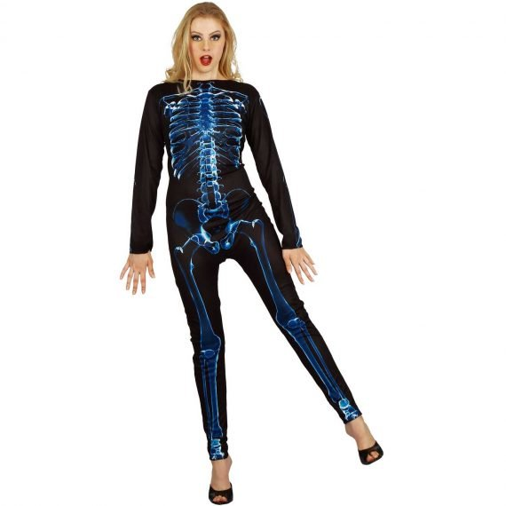 Ladies Retro Skeleton Jumpsuit for Halloween Holiday Party