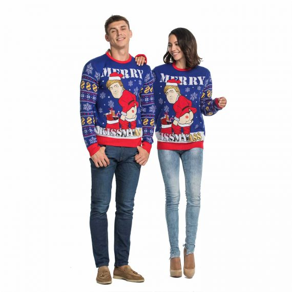 Funny Cheeky Trump Men's Ugly Christmas Sweater