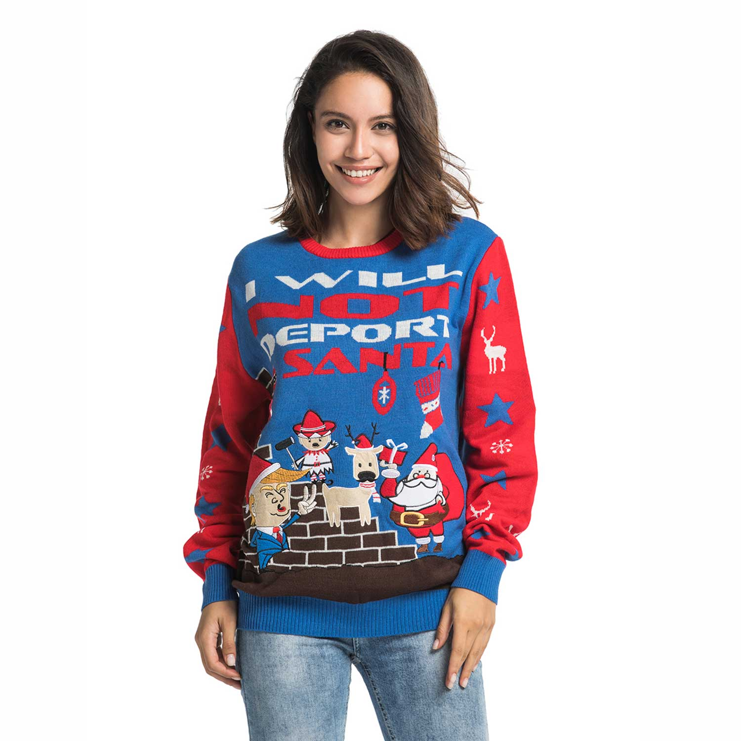 68579178725 Funny Rude Trump Women's Ugly Christmas Sweater