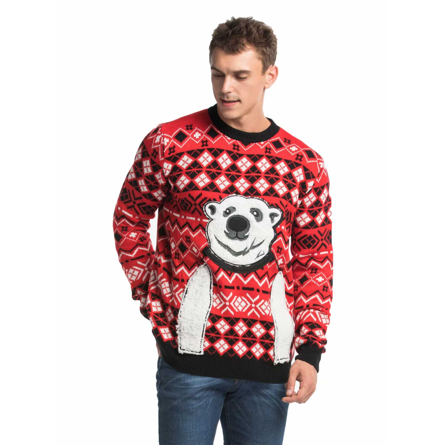 Mens Christmas Sweaters.Express Your Polar Bear Men S Funny Christmas Sweater