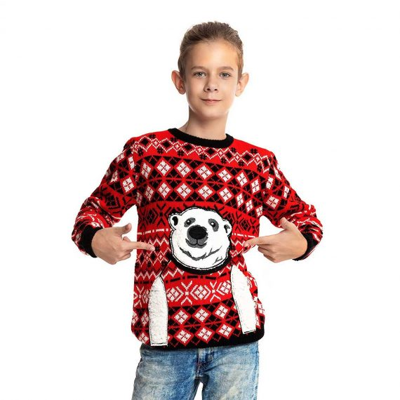 Express Your Polar Bear with Kids Ugly Christmas Sweater