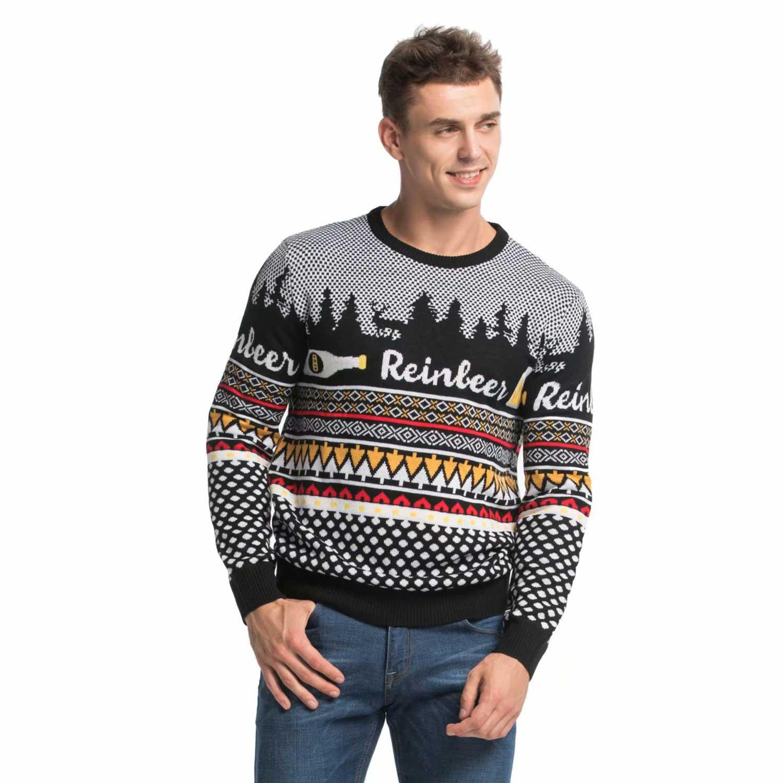 Beer Christmas Sweater.Classic Beer Reindeer Men S Funny Christmas Sweater