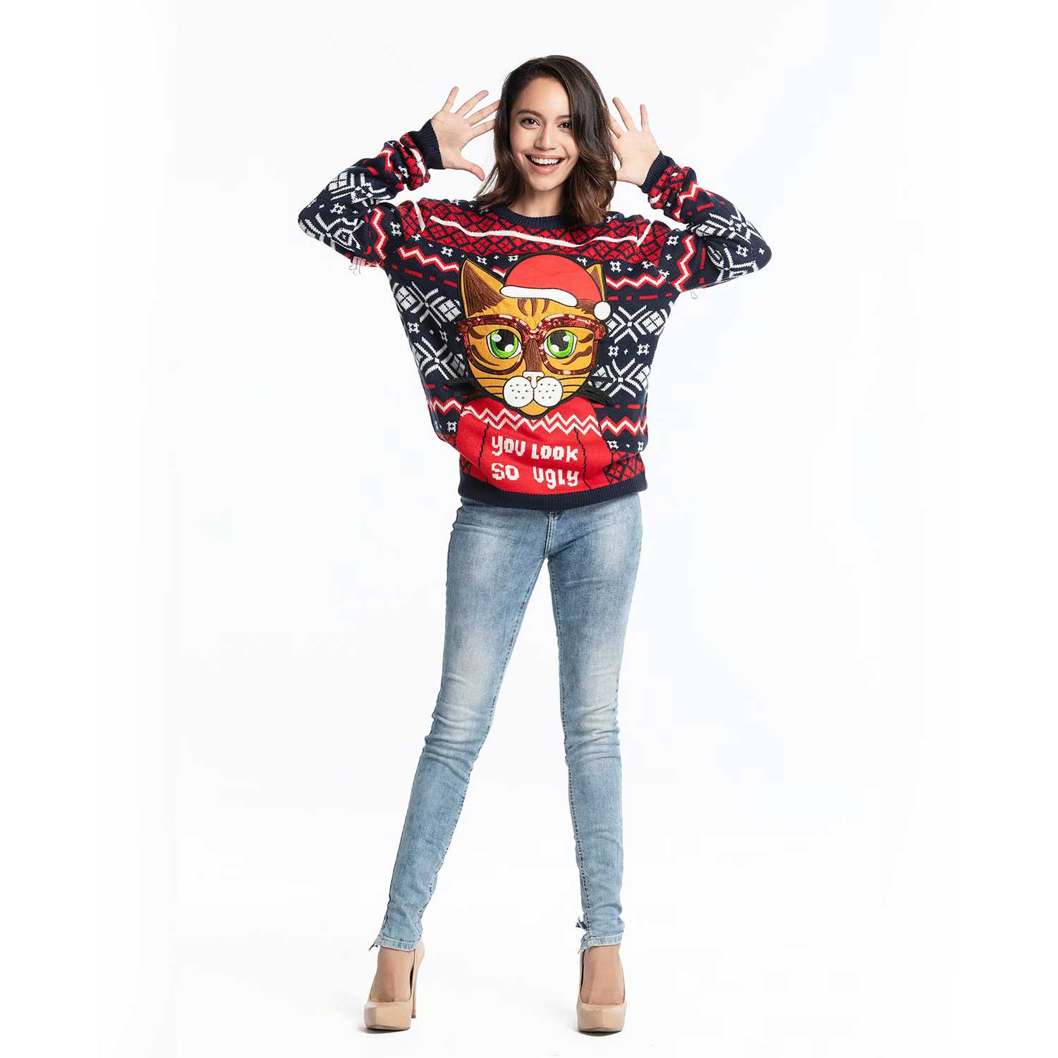 Christmas Sweater Women.Funny Cute Kitty Women S Ugly Christmas Sweater