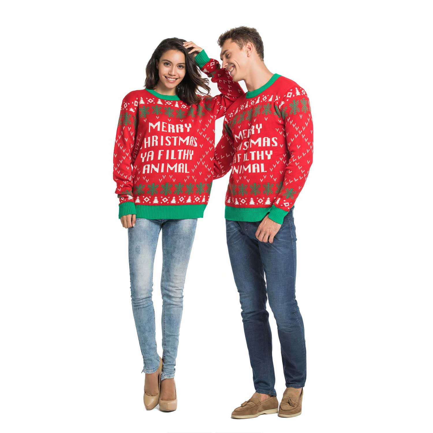 7f4fddc0847 Couples Ugly Christmas Sweater with Rude Slogan