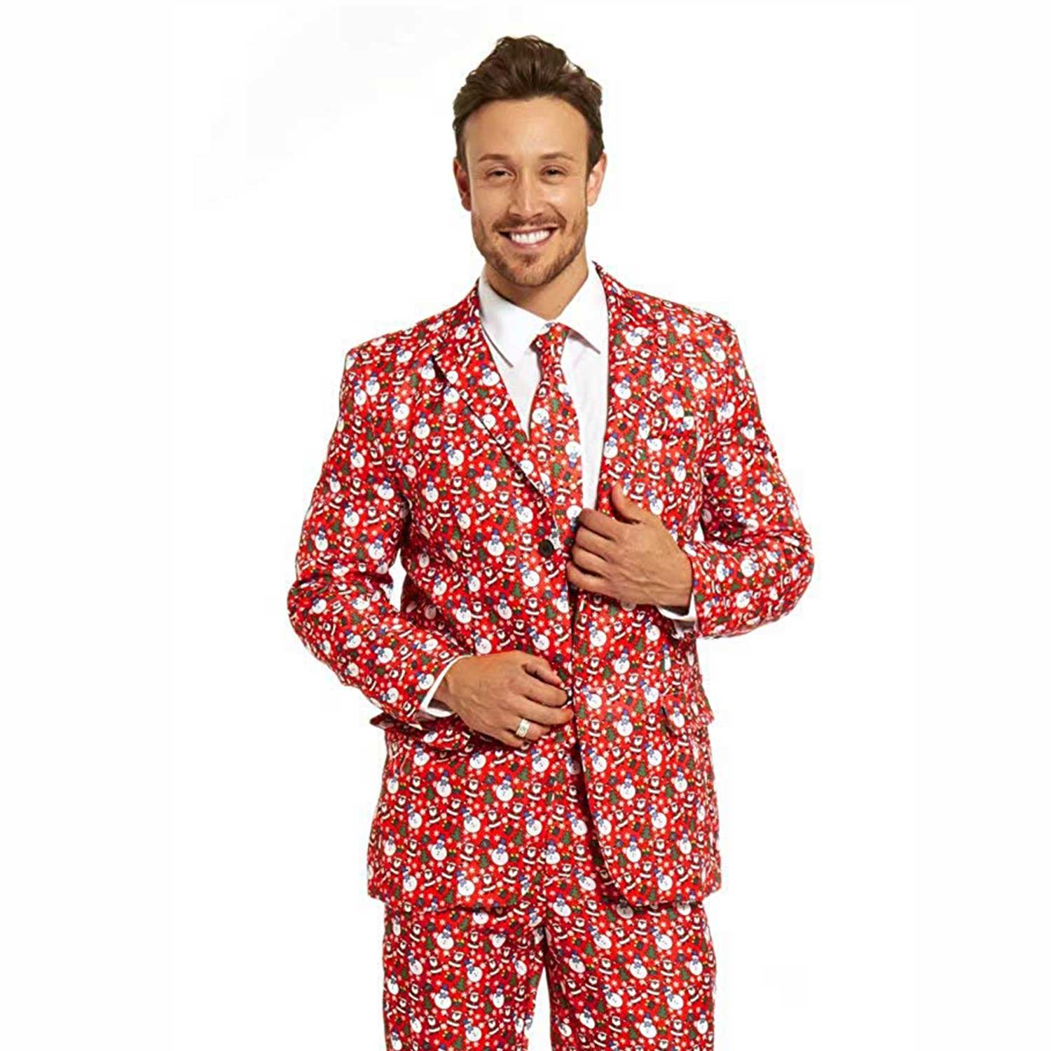 Christmas Party Suit Men.Funny Snowman With Santa Men S Christmas Suit