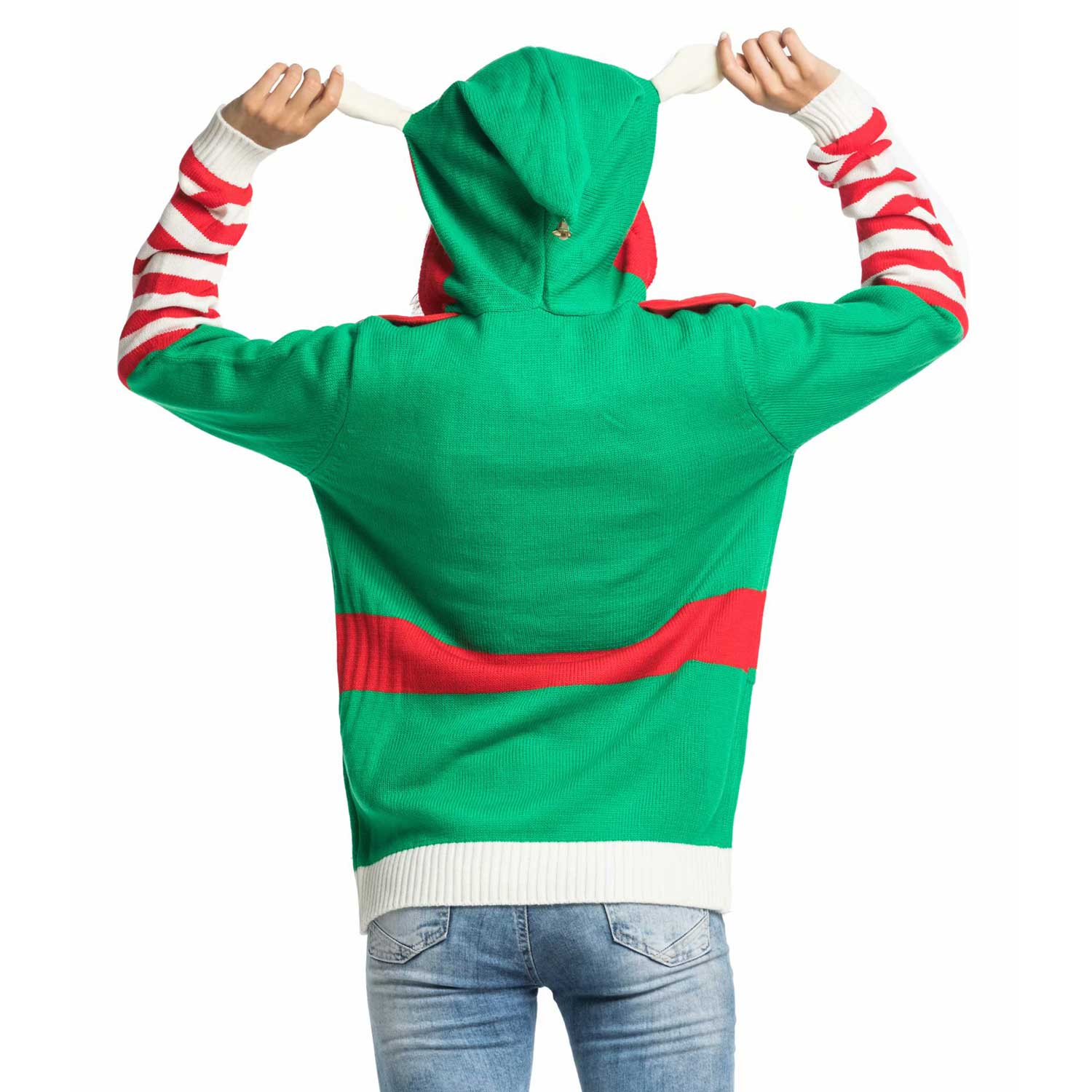348abfb7b641 Knitted Elf with Bell Women's Ugly Christmas Sweater Hoodie | You ...