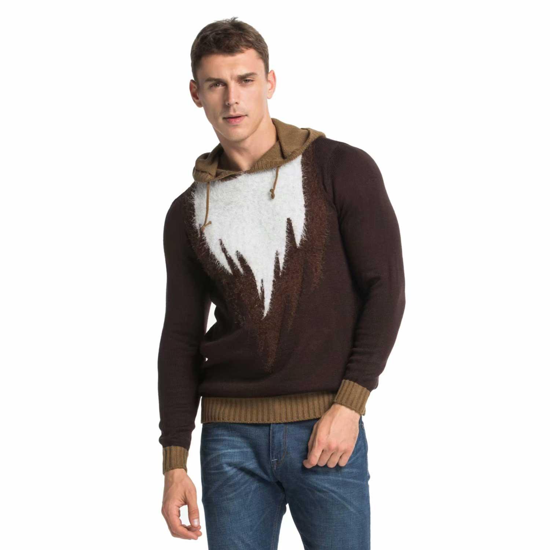 knitted fur reindeer mens christmas sweater hoodie