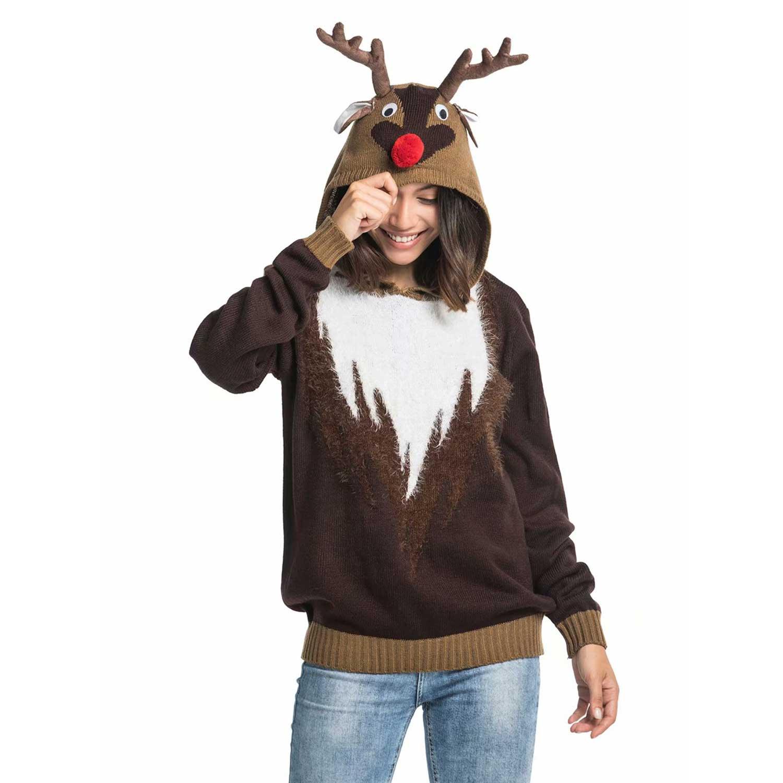 91970614f16f Knitted Fur Reindeer Women s Ugly Christmas Sweater Hoodie