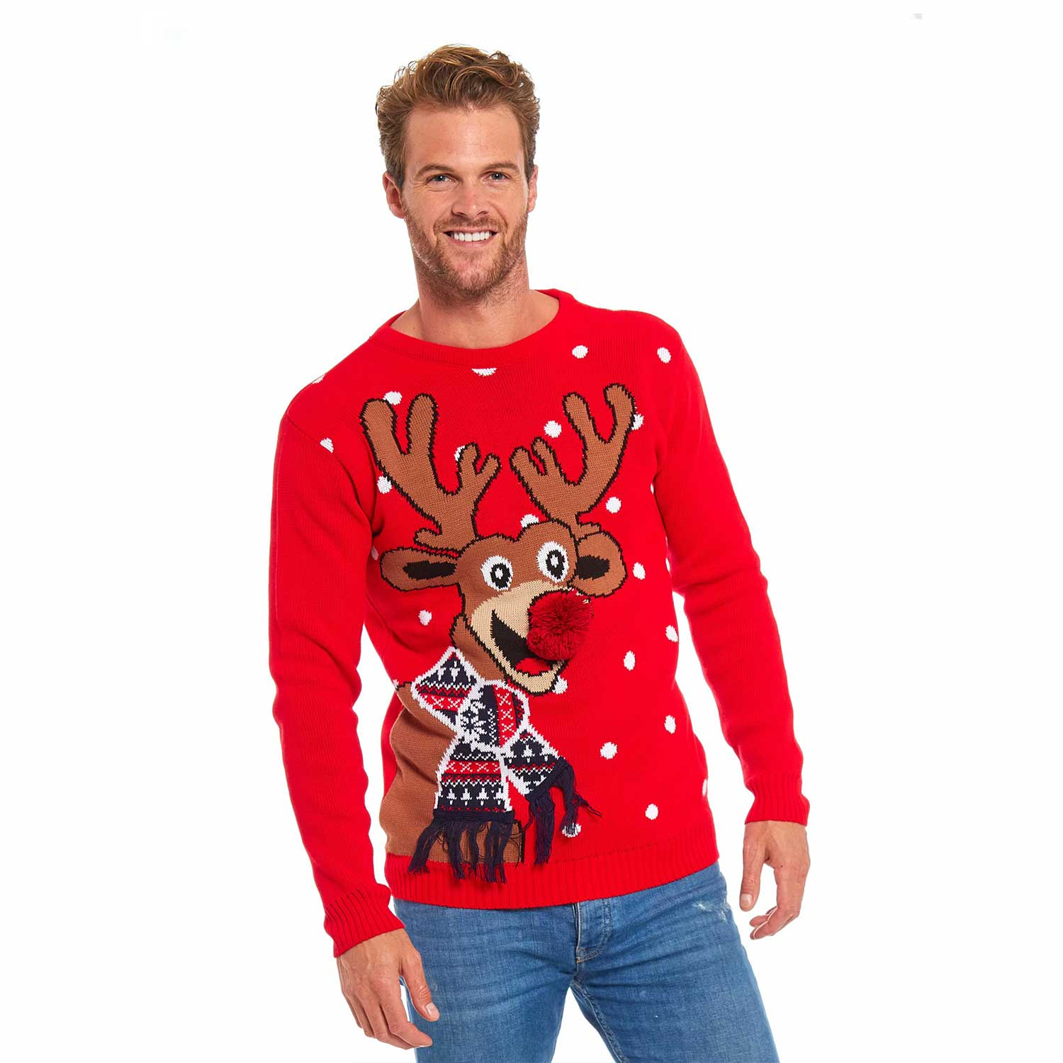 77badfb07fe7c Men's Funny Christmas Sweater with Reindeer Pom Pom Nose