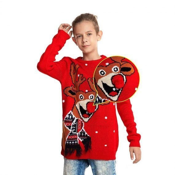 Red Nose Romp Kids Ugly Christmas Sweater
