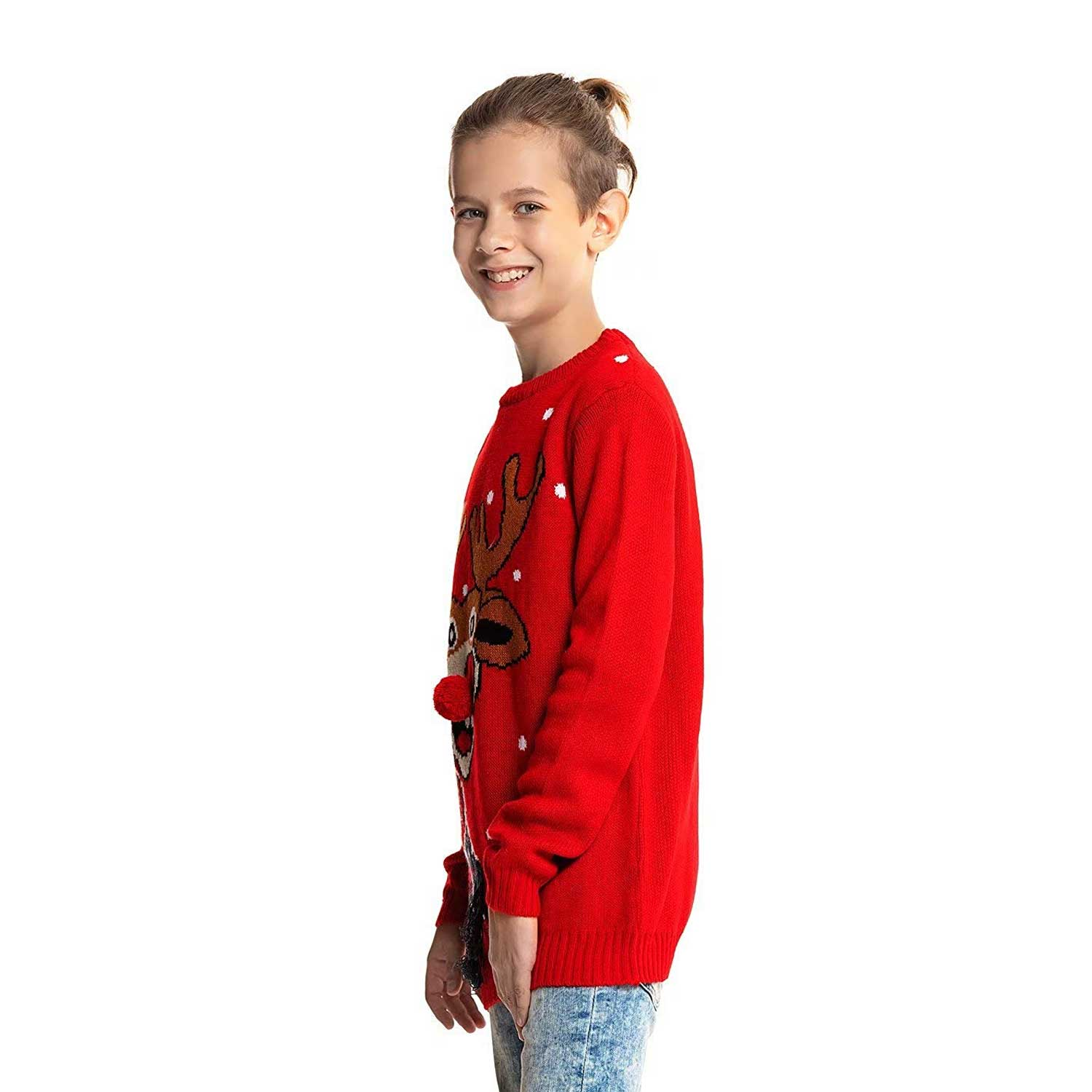 Red Nose Romp Kids Ugly Christmas Sweater   You Look Ugly Today