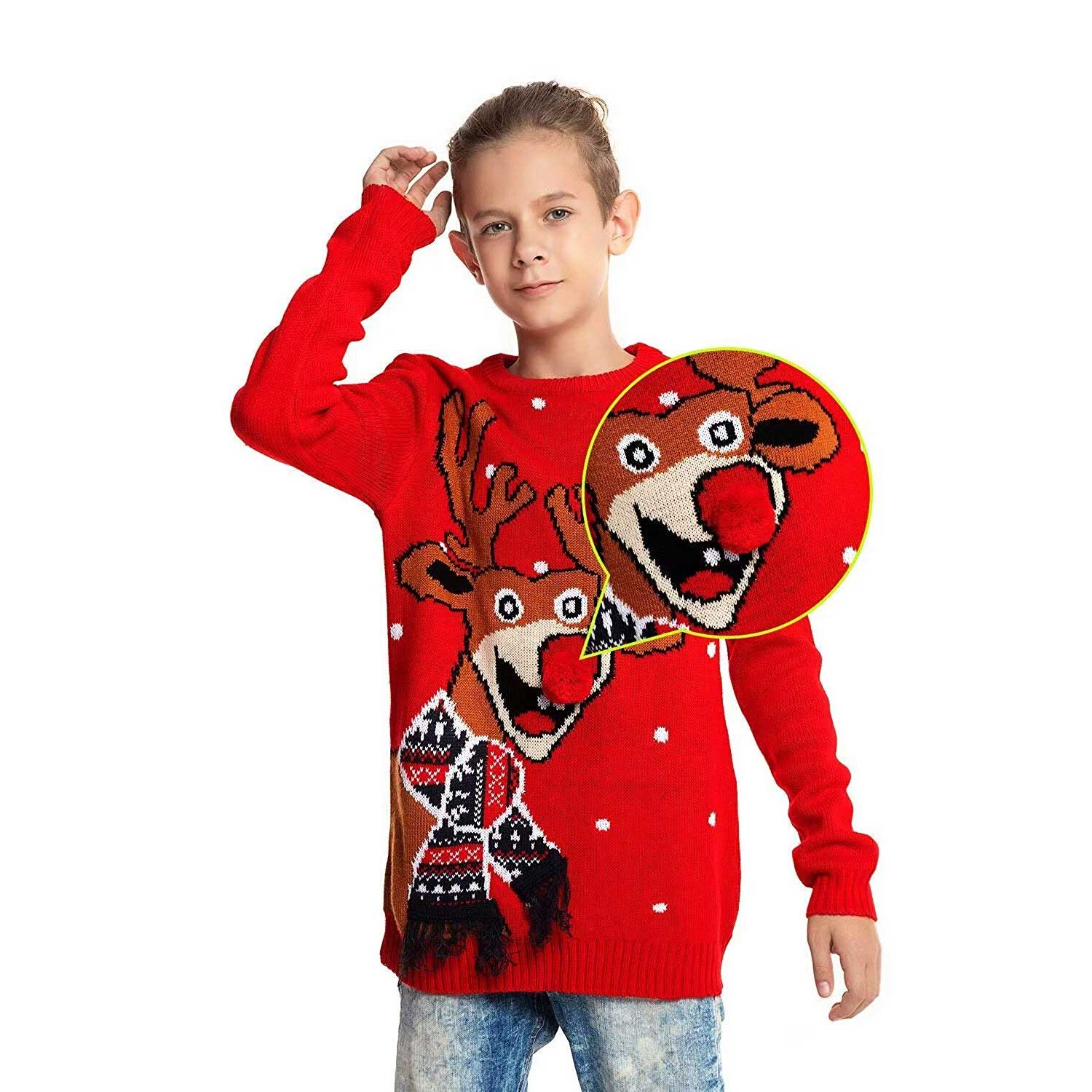 Red Nose Romp Kids Ugly Christmas Sweater | You Look Ugly Today