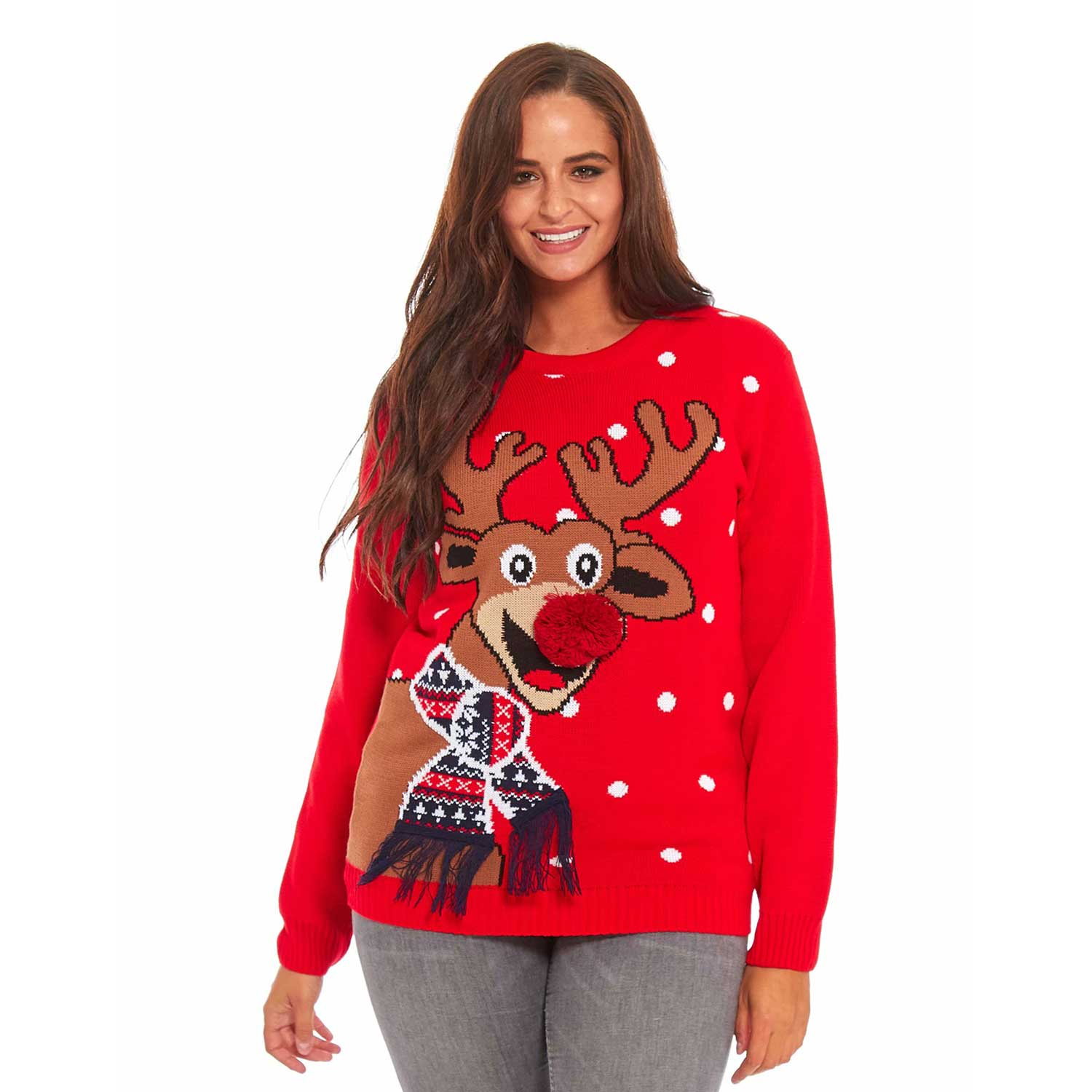 Funny Ugly Christmas Sweater.Red Nose Romp Funny Women S Ugly Christmas Sweater