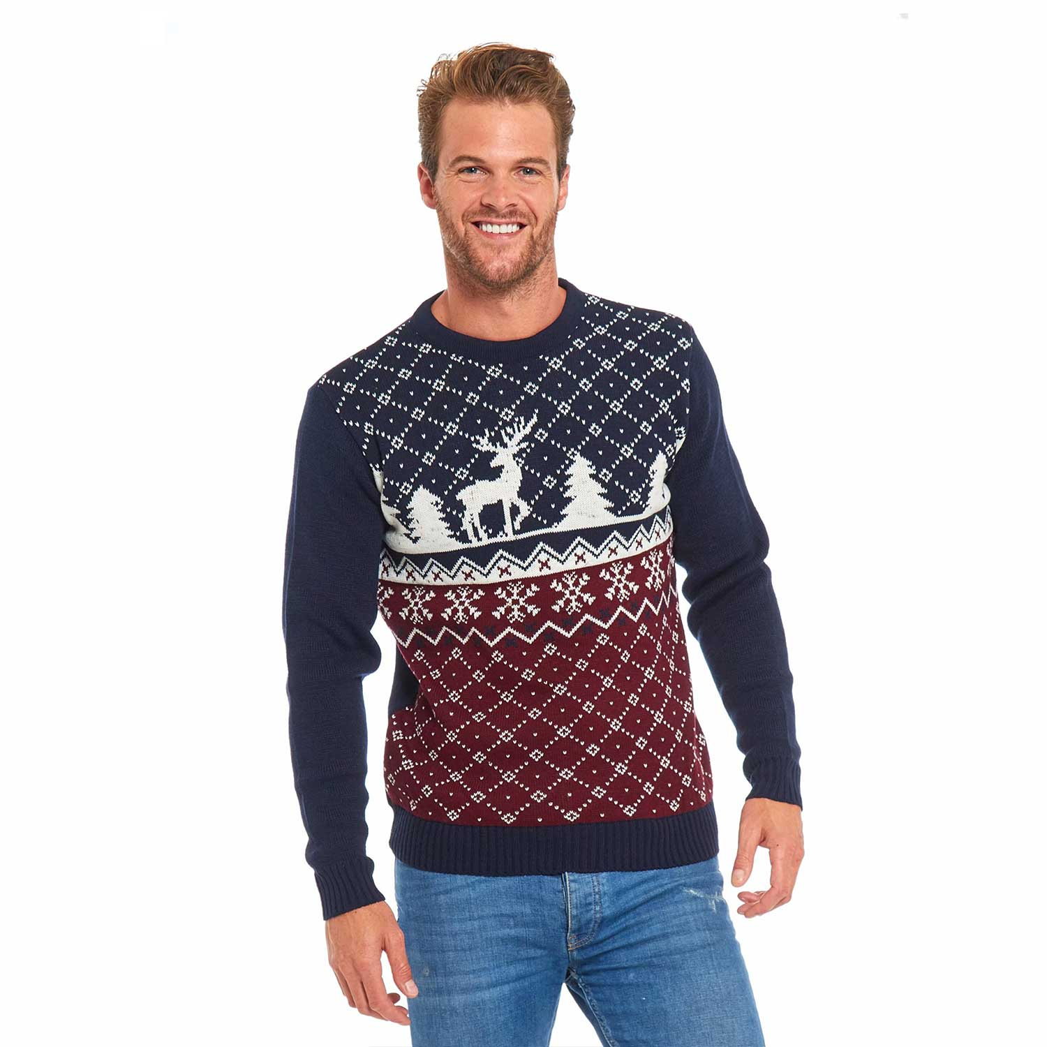 Christmas Sweaters For Couples.Reindeer Fair Isle Couples Funny Christmas Sweater
