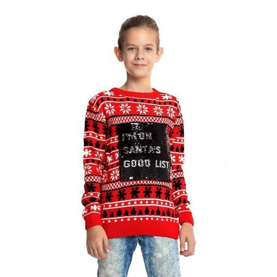 Reverse Sequin Kids Ugly Christmas Sweater