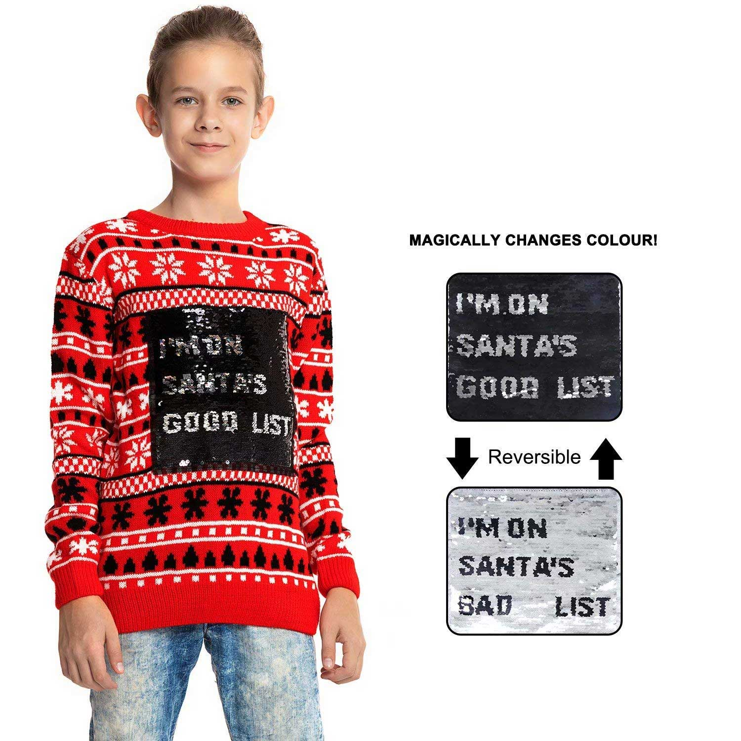 9151b260 Reverse Sequin Kids Ugly Christmas Sweater | You Look Ugly Today