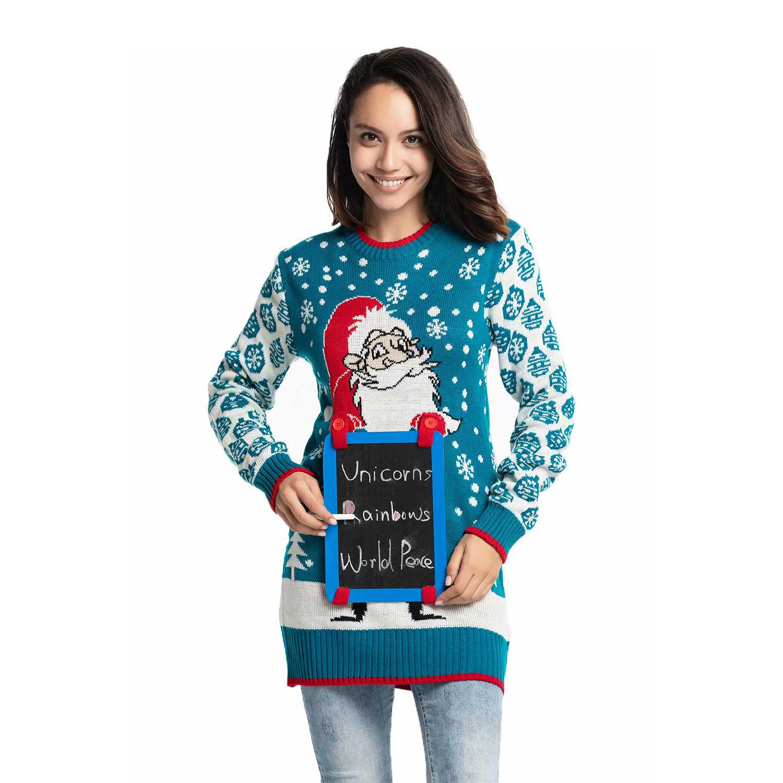 e7d67fb44b0 Santa s List with Chalkboard Women s Ugly Christmas Tunic
