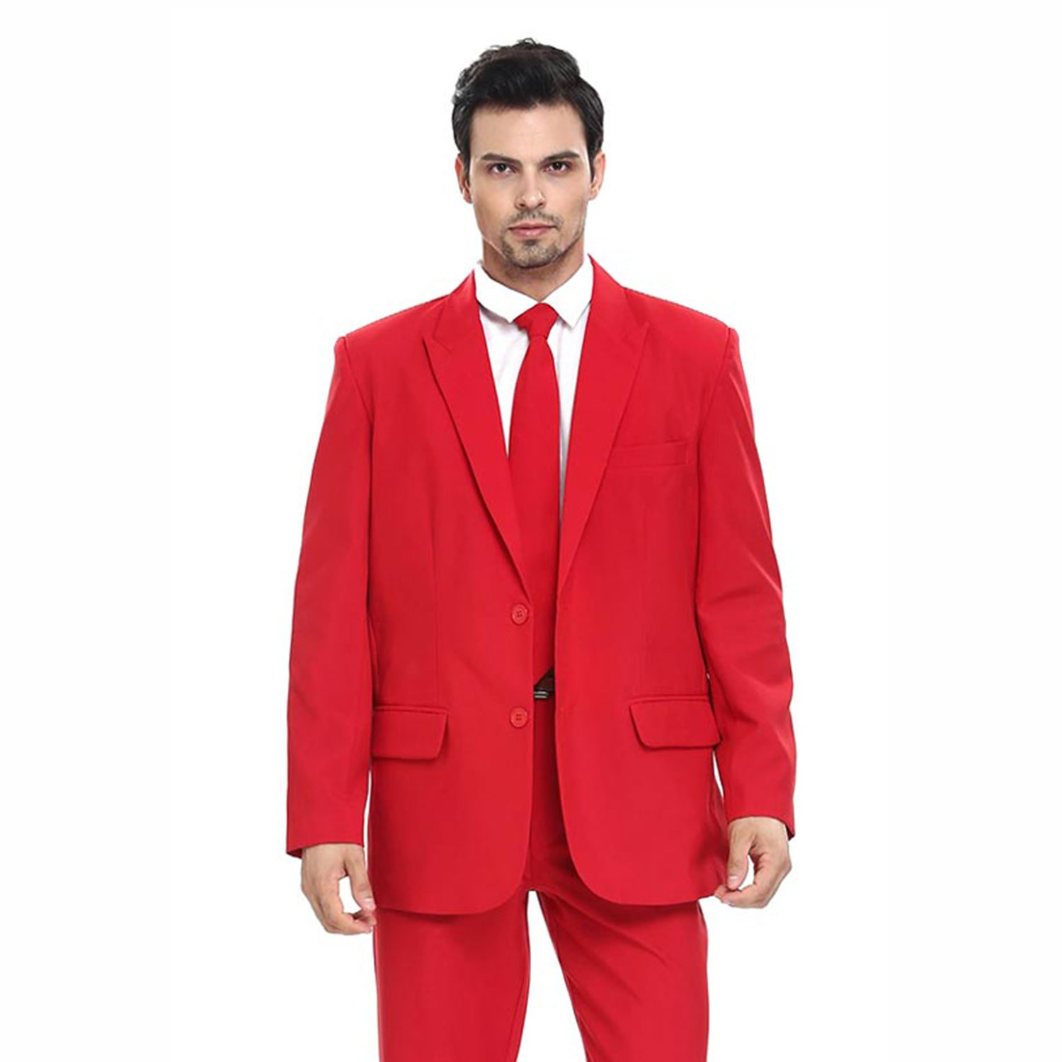 Christmas Party Suit Men.Mens Ugly Christmas Party Suit Solid Red