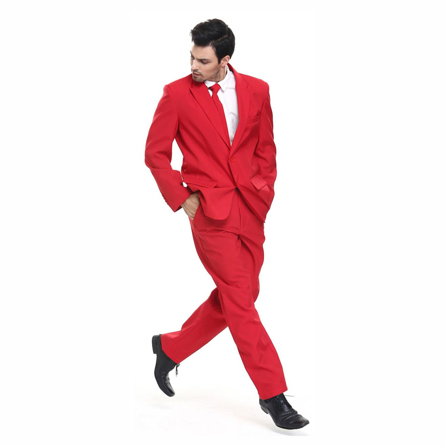 Mens Ugly Christmas Party Suit Solid Red | You Look Ugly Today