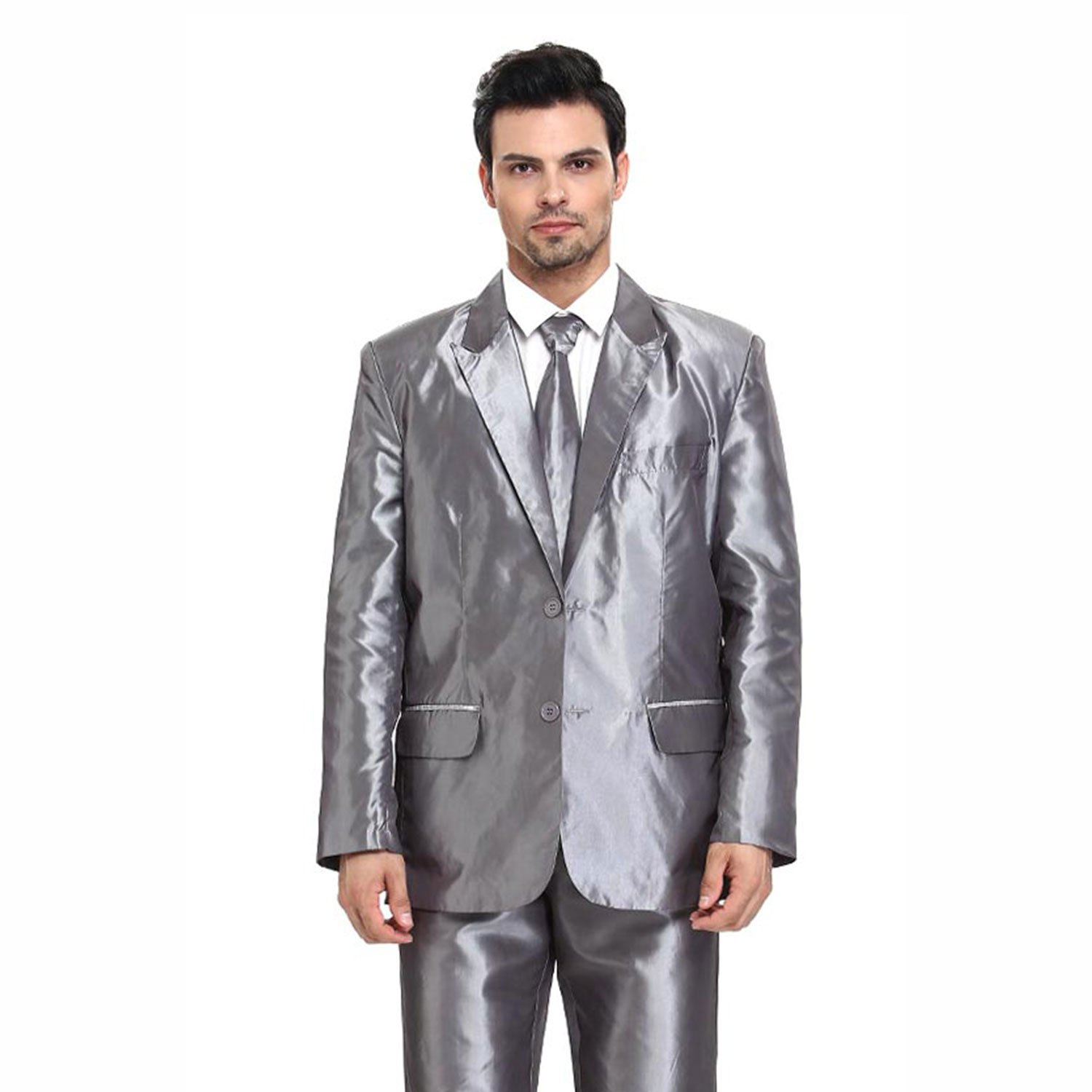 Christmas Party Suit Men.Ugly Mens Christmas Party Suit Solid Shiny Silver