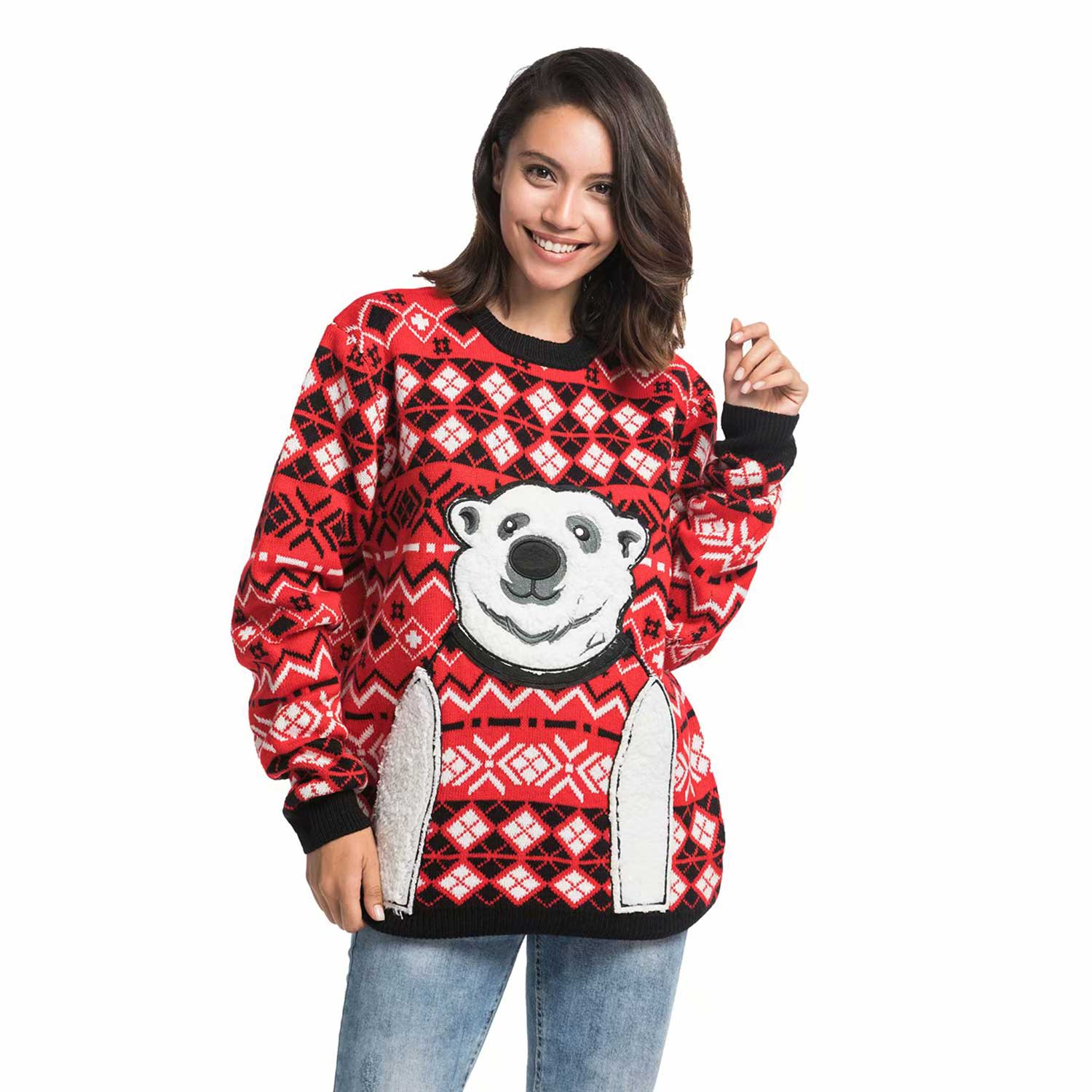 Womens Ugly Christmas Sweater Express Your Polar Bear You Look
