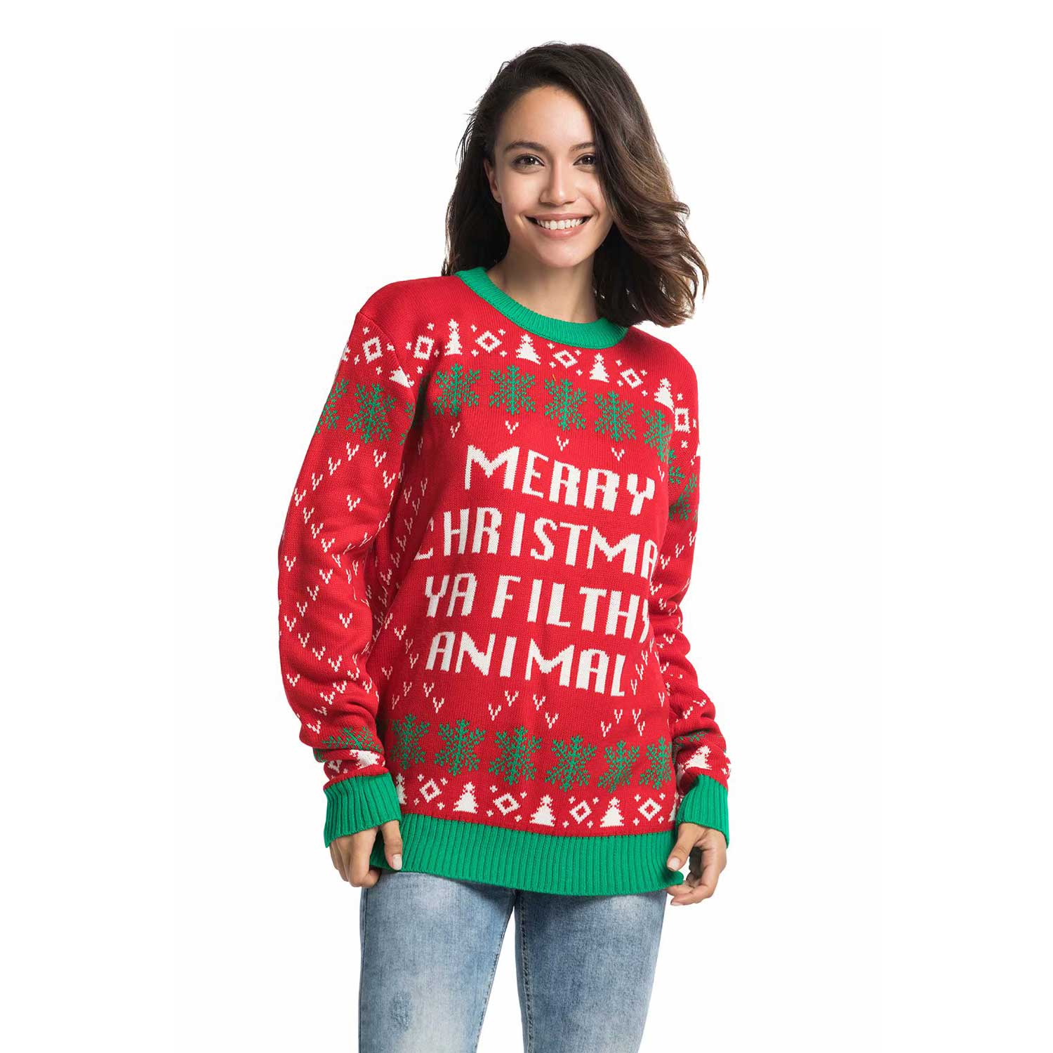 Couples Ugly Christmas Sweater With Rude Slogan You Look Ugly Today