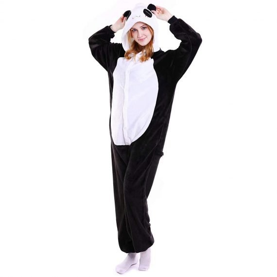 Black Panda Animal Onesies Pajamas with Hoods