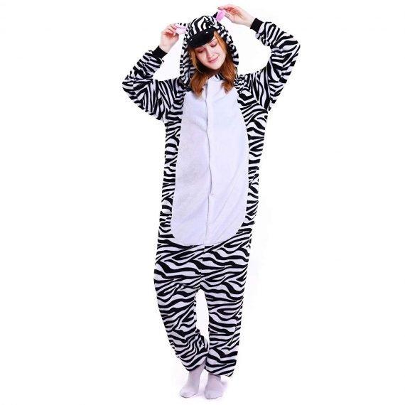 Black Zabra Animal Onesies Pajamas with Hoods