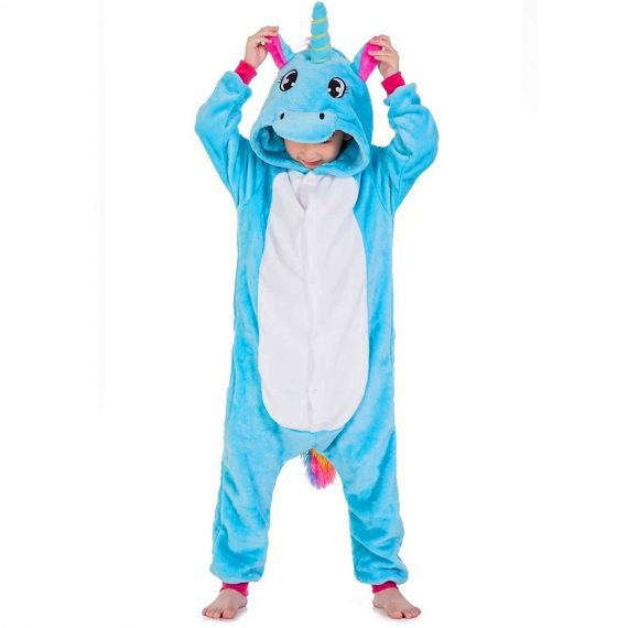 Blue Unicorn Animal Onesies Pajamas for Kids