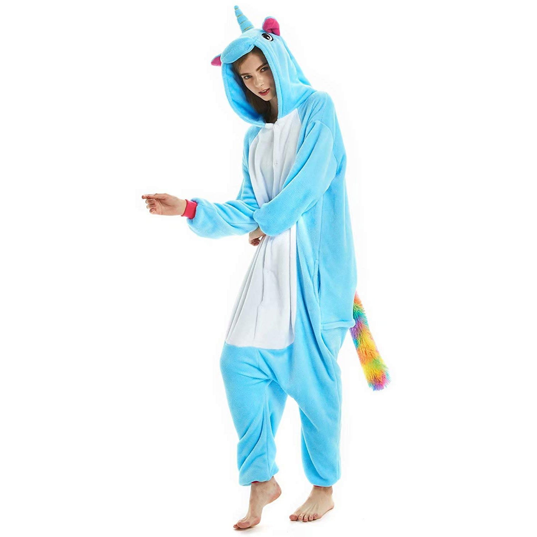 6e02ef4a2877 Footless Blue Unicorn Animal Onesies for Women