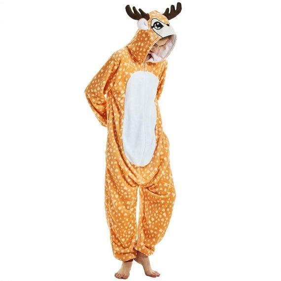 Brown Deer Animal Onesies Pajamas for Adults