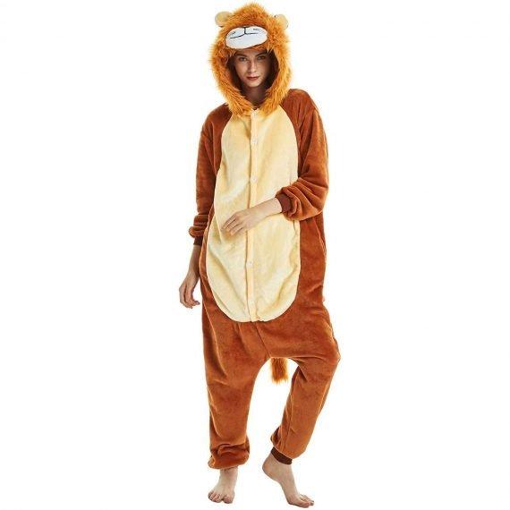 Brown Lion Animal Onesies Pajamas for Adults