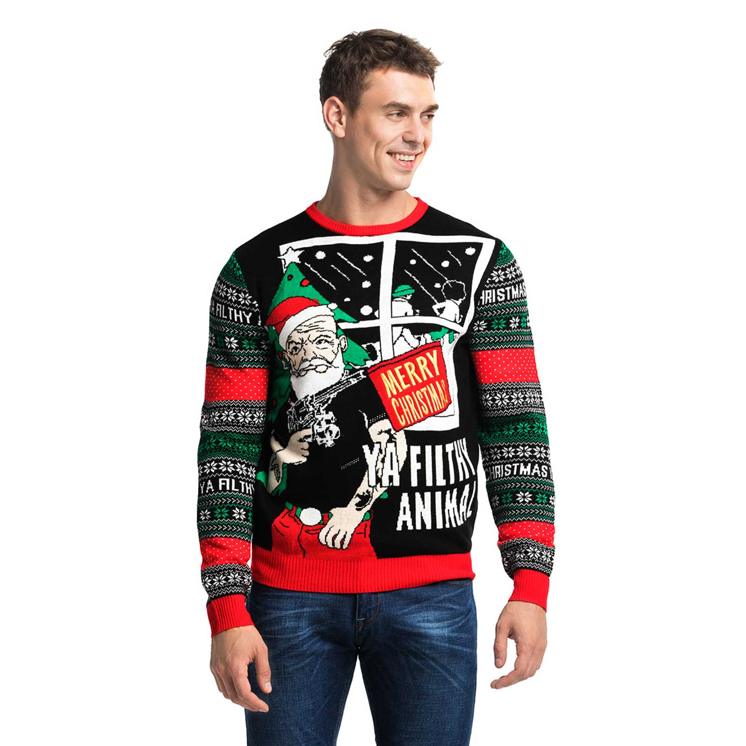 Funny Christmas Sweater.Gangster Santa Men S Funny Christmas Sweater
