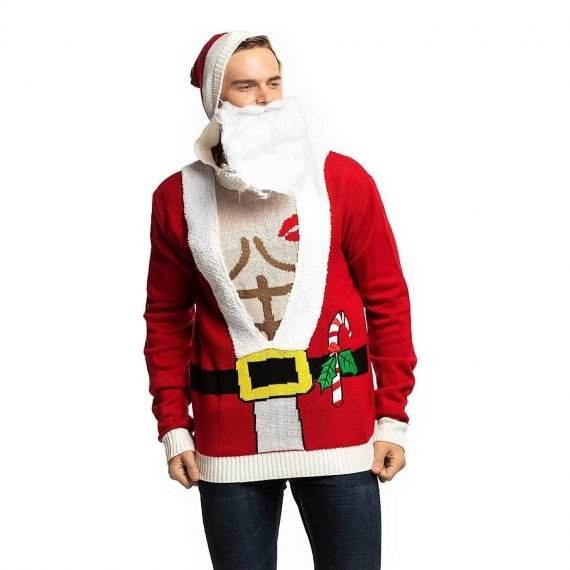 Funny Sexy Santa with Beard Men's Ugly Christmas Sweater