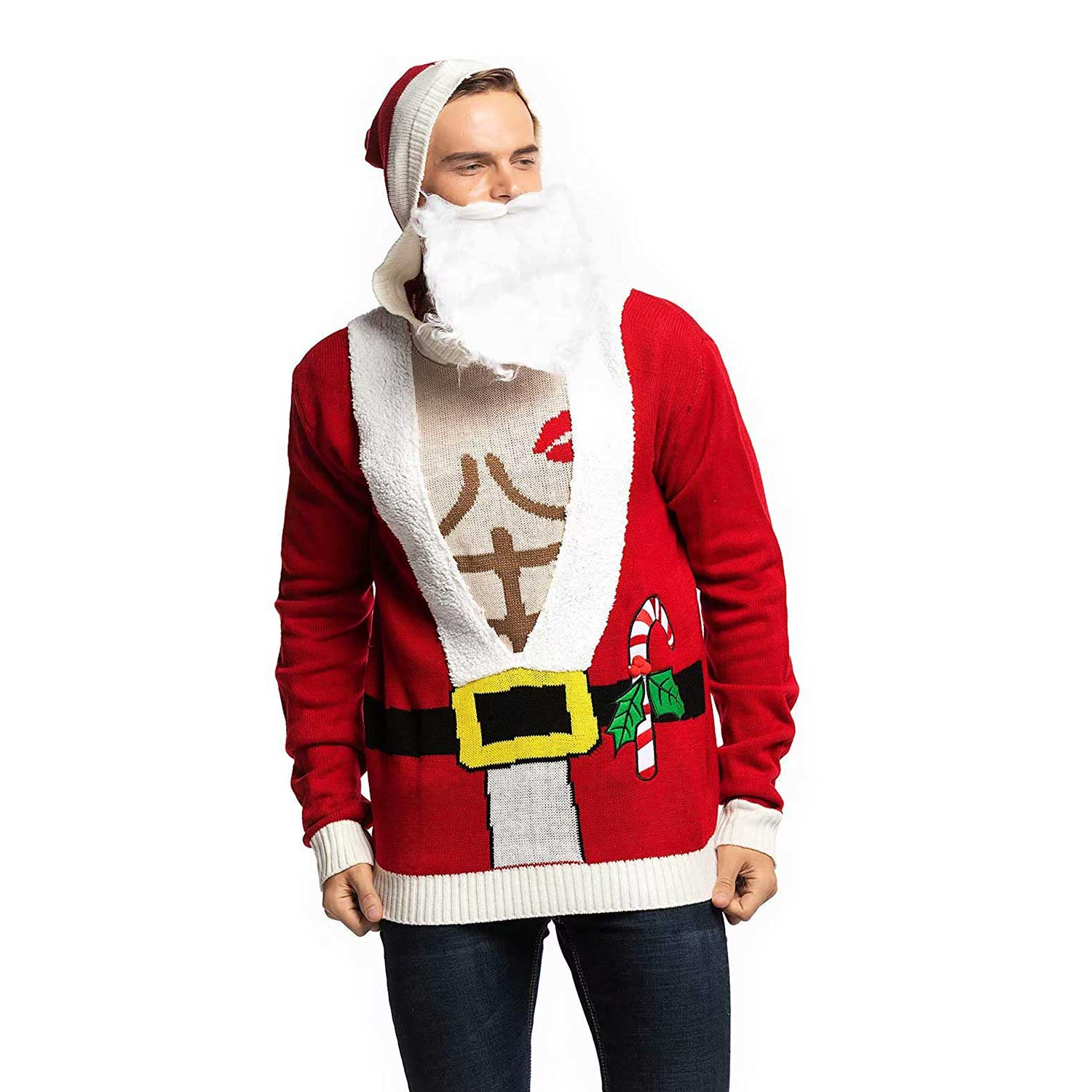 Funny Sexy Santa With Beard Mens Ugly Christmas Sweater You Look