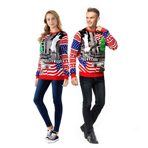 Funny USA Red White and Blue Couples Christmas Sweater