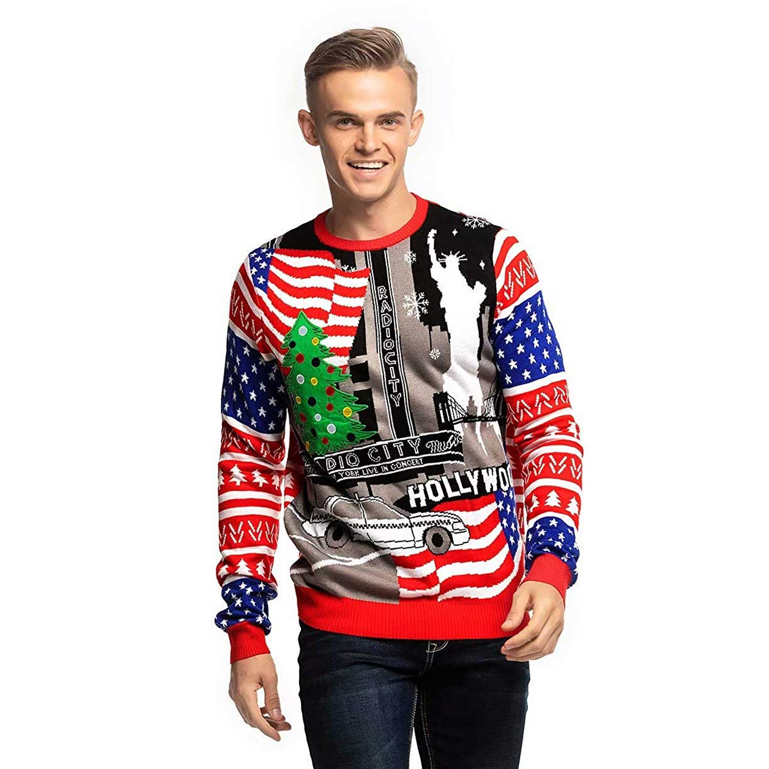 Blue And White Christmas Sweater.Usa Red White And Blue Men S Funny Christmas Sweater