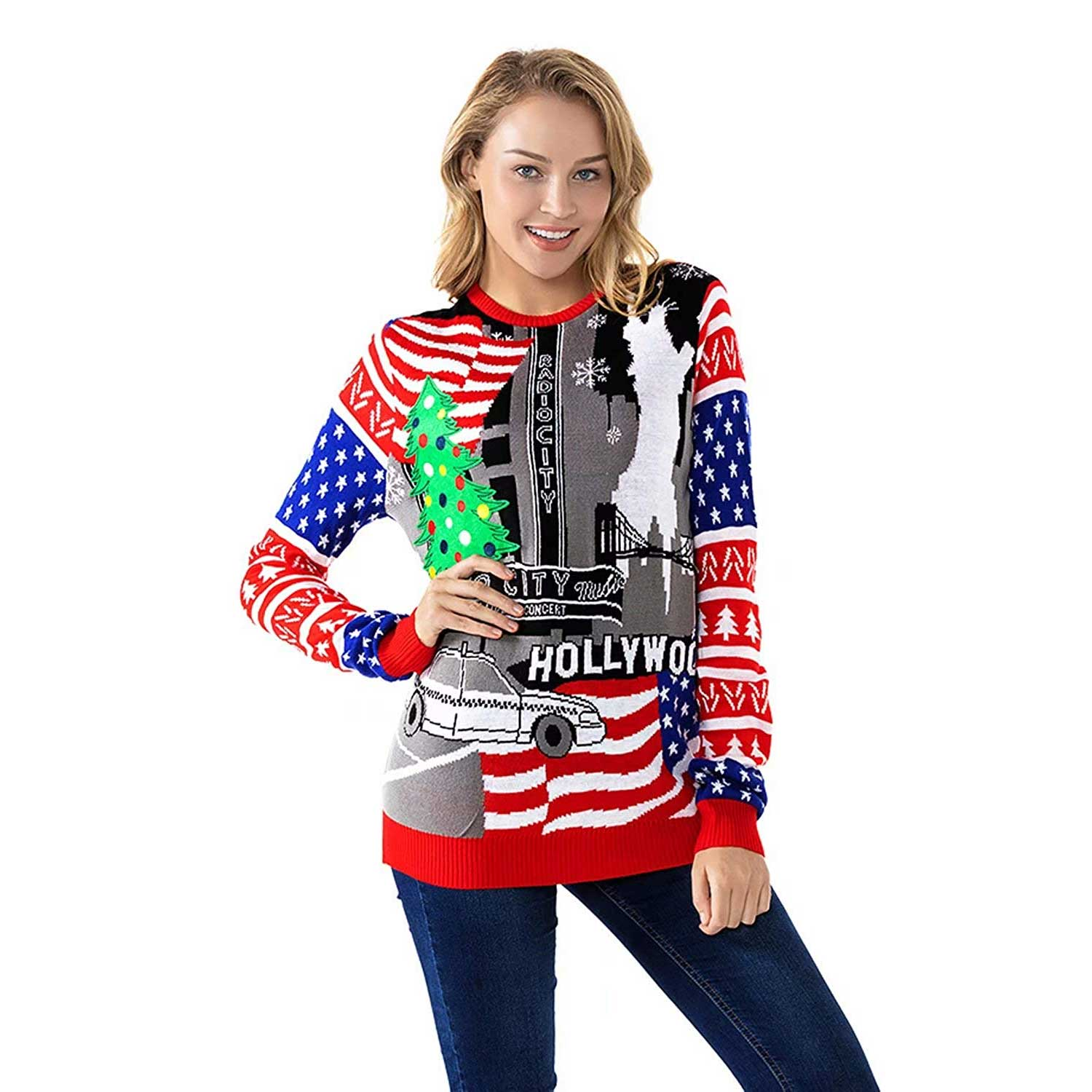 Blue And White Christmas Sweater.Funny Usa Red White And Blue Women S Christmas Sweater