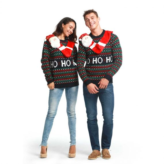 Hang out with Santa Couples Ugly Christmas Sweater