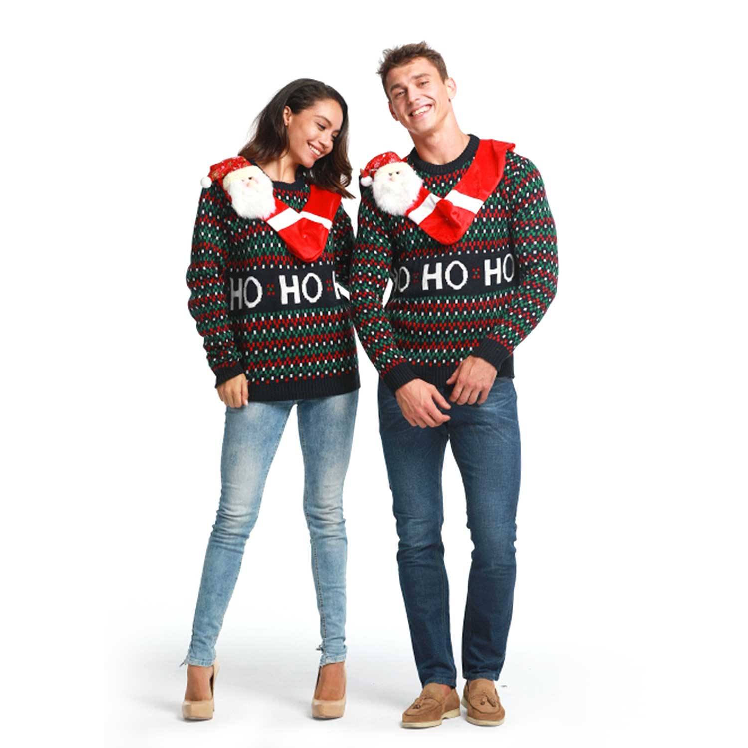 Christmas Sweaters For Couples.Hang Out With Santa Couples Ugly Christmas Sweater