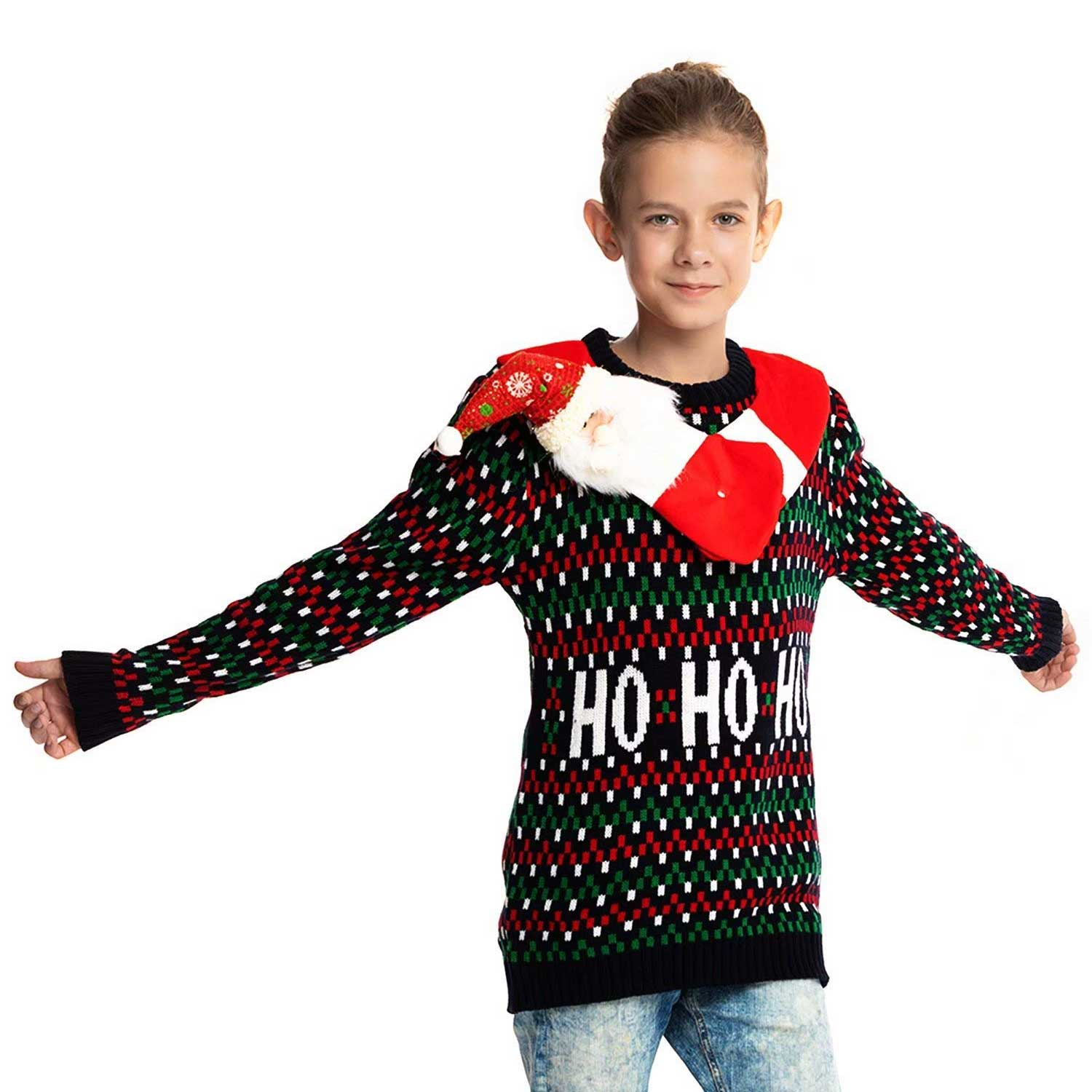 Hang Out with Santa Kids Ugly Christmas Sweater   You Look Ugly Today