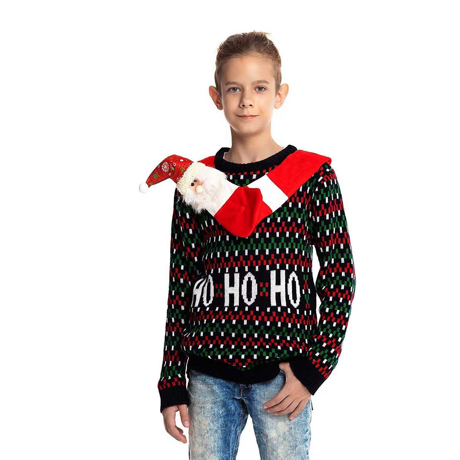 Ugly Christmas Sweater Kids.Hang Out With Santa Kids Ugly Christmas Sweater
