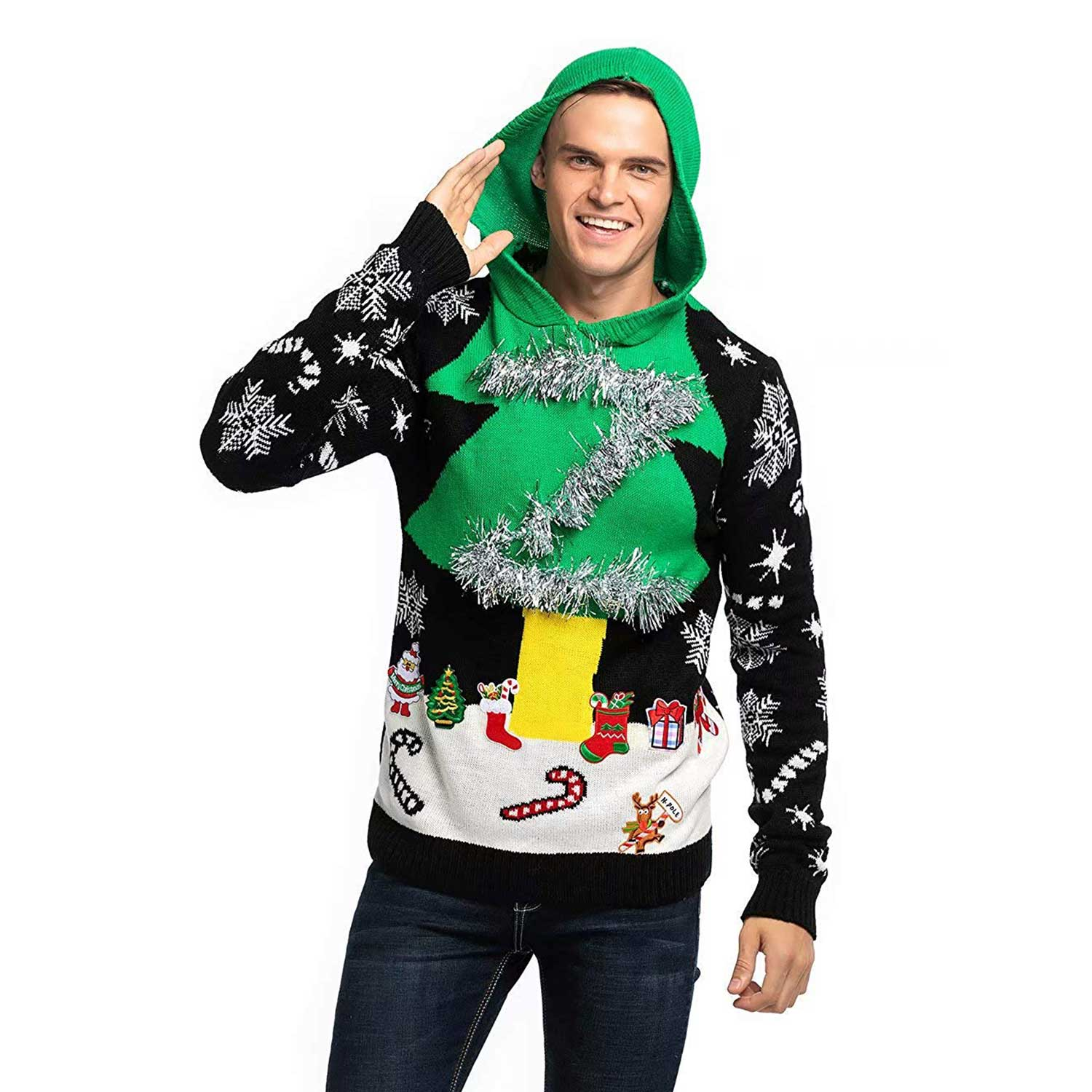 Mens Ugly Christmas Sweater.Knitted Men S Ugly Christmas Sweater Hoodie