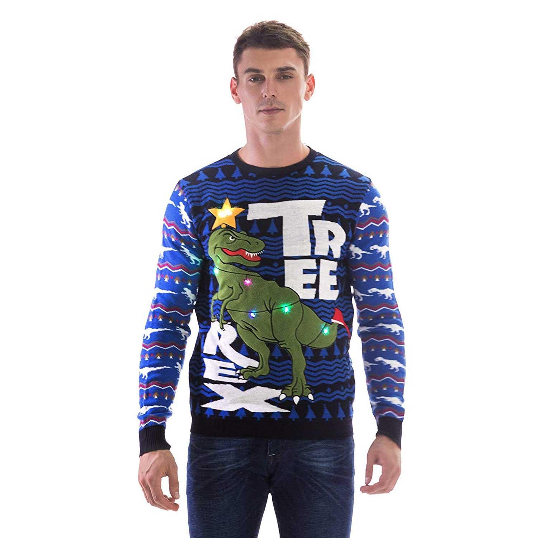 Dinosaur Christmas Sweater.Led Light Up Dinosaur Men S Funny Christmas Sweater