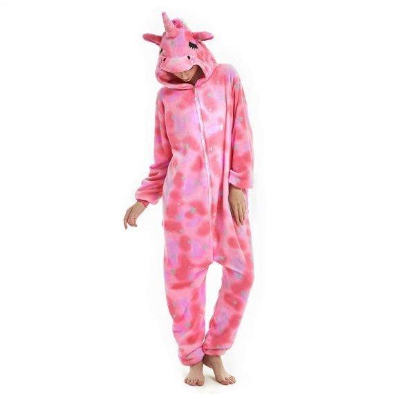 Pink Eyes Closed Unicorn Animal Onesies Pajamas