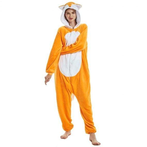 Yellow Wolf Animal Onesies Pajamas for Adults