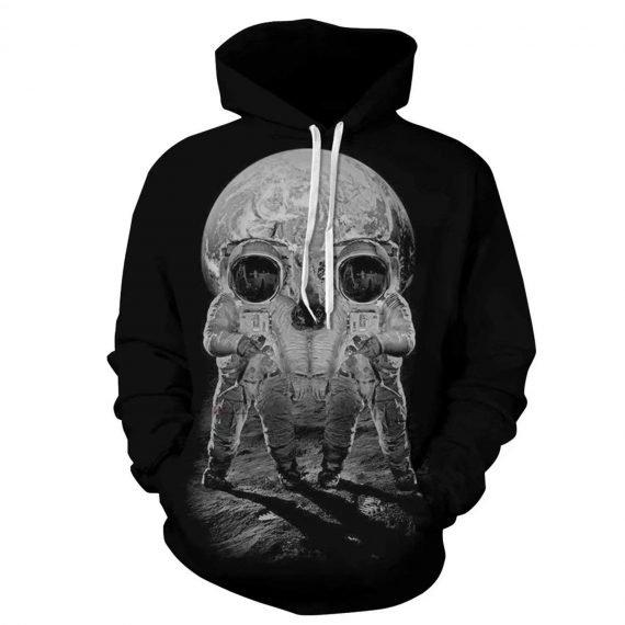 Black Spaceman Skull 3D Printed Hoodies